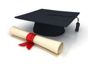 geslaagd hoed met diploma